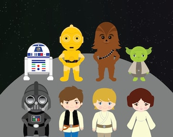 StarWars - Clipart, Printable, Instant download, 300dpi, PNG files, starters, han solo, chewbacca, c3po, r2d2, luke, leia, darth vader
