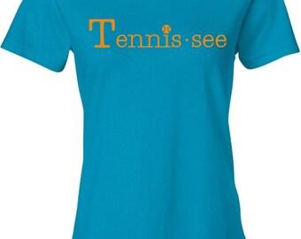 Tennis.see® Tennis Tennessee Tennis.see Tshirt Tee Shirt Womens Aqua Teal Caribbean Blue