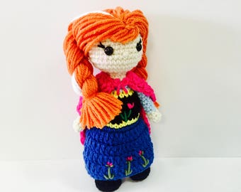Anna Crochet Doll Frozen Inspired - In Stock