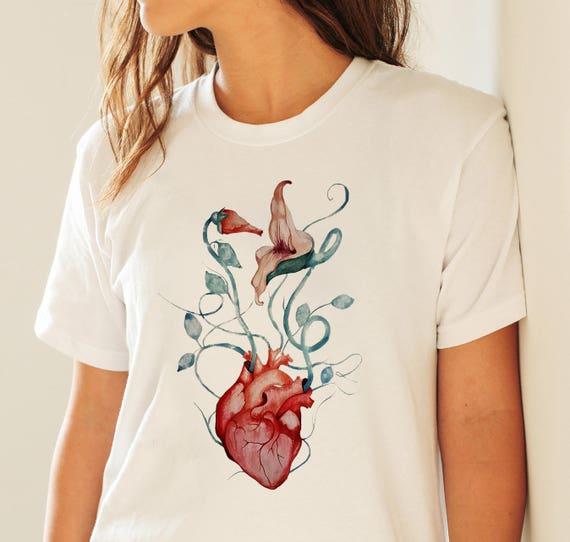 Pink Floyd The Wall Flowers Unisex T-shirt | Rock music shirt | Anatomical heart | Psychedelic art | Graphic Tee | ZuskaArt