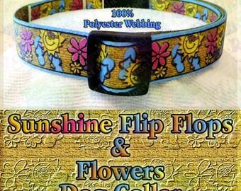 Flip Flops Flowers Sun on Rustic Gold Background Polyester Webbing Designer Novelty Dog Collar