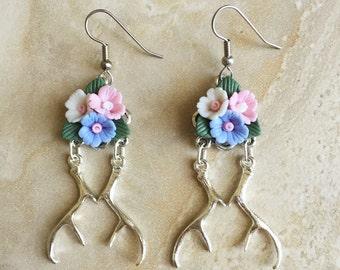 Hannibal Inspired Flower Crown Stag Earrings - Floral Dangle Earrings - Antler Earrings - Fannibal Earrings