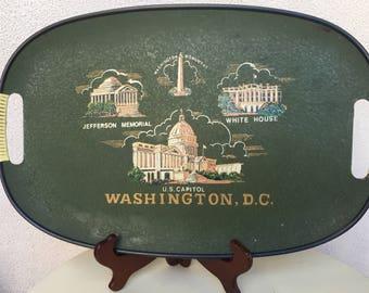 Vintage Wounded Bird Souvenir tray Washington DC green fiberglass