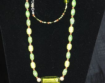 Necklace and Bracelet Set, Shades of Green