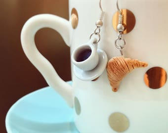Sweet Breakfast Earrings, Miniature Food Earrings with Coffee and Croissant