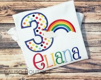 Girls Rainbow Birthday Shirt - Rainbow Party Shirt for Girls - Rainbow Polka Dots - Personalized Birthday Number Shirt - Optional Hairbow