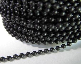 2 Ft Matte Black 2mm Brass Ball Chain Ch220