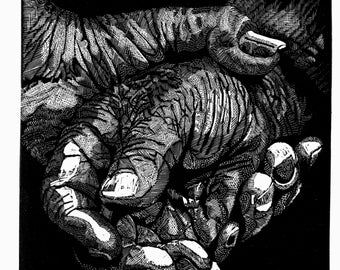Wood engraving 'Clasped Hands 2'