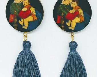 hand-painted earrings Raffaello Madonna of the chair