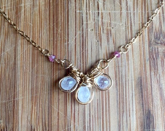 Wire Wrapped Moonstone and Pink Tourmaline Layering Necklace 14 Karat Gold Filled Wire and 14 Karat Gold Filled Chain