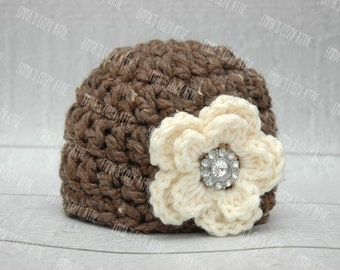 Baby girl hat, newborn girl hat, newborn girl photo prop, baby girl clothes, coming home outift, infant girl, crochet girl hat, flower hat