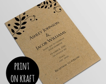 Romantic rustic invitation template Diy wedding country
