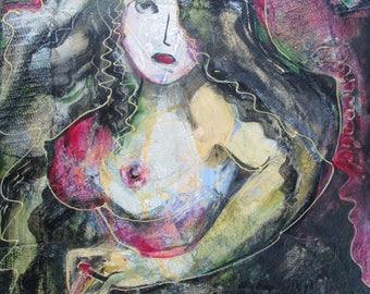 "Original Painting on Wood, ""Mermaid with Black Cigarette"" or ""Дівчина З Чорною Циґаркою, Або Моя Русалка"""