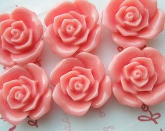 SALE ME--10 High Quality  Rose cabochons 6pcs CORAL 20mm
