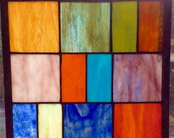 Stained glass window panel - Colored Rectangles
