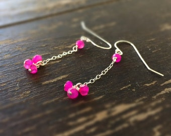 Hot Pink Earrings - Sterling Silver Jewelry - Chalcedony Gemstone Jewellery - Trendy - Chain - Dangle