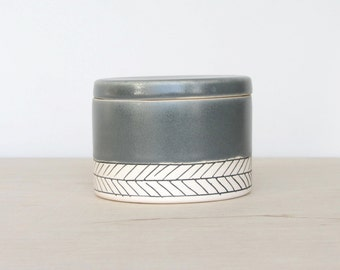 Salt Cellar - Herringbone - Storm Gray- Made to Order