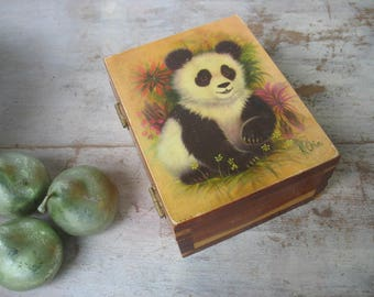 Vintage K.Chin Panda Bear Wood Box Art Signed By Artist Asian Souvenir Bear Small Jewelry Box Catch All Animal Art