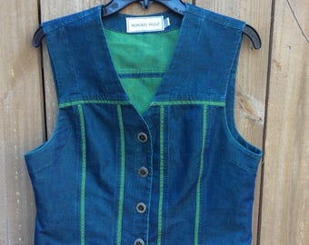 Retro Green and Blue Denim Vest made in USA