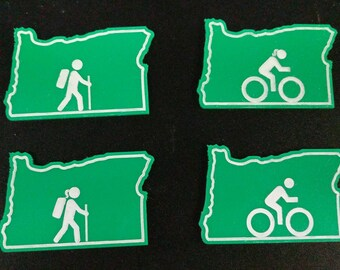 Oregon Hiking and Biking Activity Magnets 4 Pack