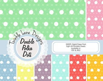 Polka Dots, Digital Papers, Eight A4 Pages, Spots, Double Dots, Circles, Papercraft Kit, Papercrafting Paper, Papercraft Print, Papercraft