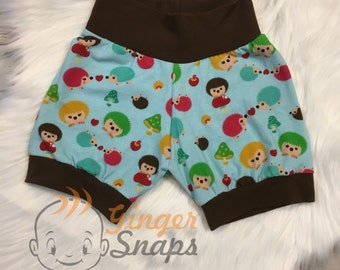 Hedgehog Cuff Shorts - Hearts - 0-3m 12-18m and 3-4T
