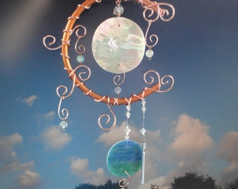 Wind Chime, Moon and Earth Garden Sculpture, Stained Glass, Copper, Garden Art, Home Decor, Window Hanging, Earth Day Tribute, Celestial