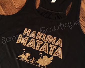 Hakuna Matata Women's Tank Top! Womens, Disney Tank, Flowy Racerback Tank, Disney shirt, family disney shirts, Lion King, Animal Kingdom