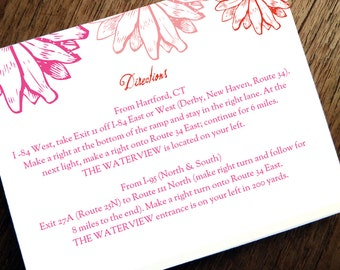 Printable Wedding Information Card - Pink and Red Daisies - Printable Wedding Info Card - Directions - Hotel Information - Editable PDF