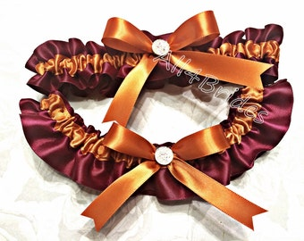 Burgundy and burnt orange wedding bridal leg garter set, bridal garter belt set