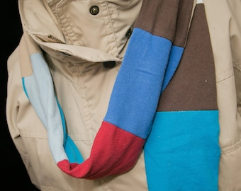 Multi-colored Rolled Tee Shirt Scarf - Double Thick Scarf - Tee Scarf