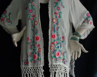 Vintage faux embroidered blouse jacket with fringe  XL
