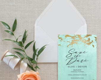 Gold Marble and Aqua Calligraphy Save the Date, Flat Card, Postcard, Modern | Deposit