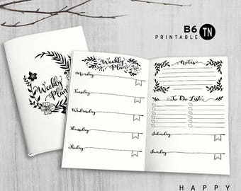 Printable B6 Insert - B6 Travelers Notebook Insert - B6 weekly insert, Weekly Traveler's Notebook Insert - Leaves
