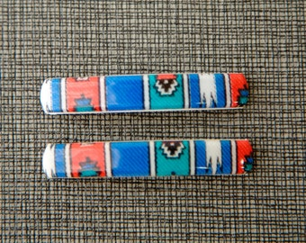 1980s Blue Vintage French Barrettes- Native American