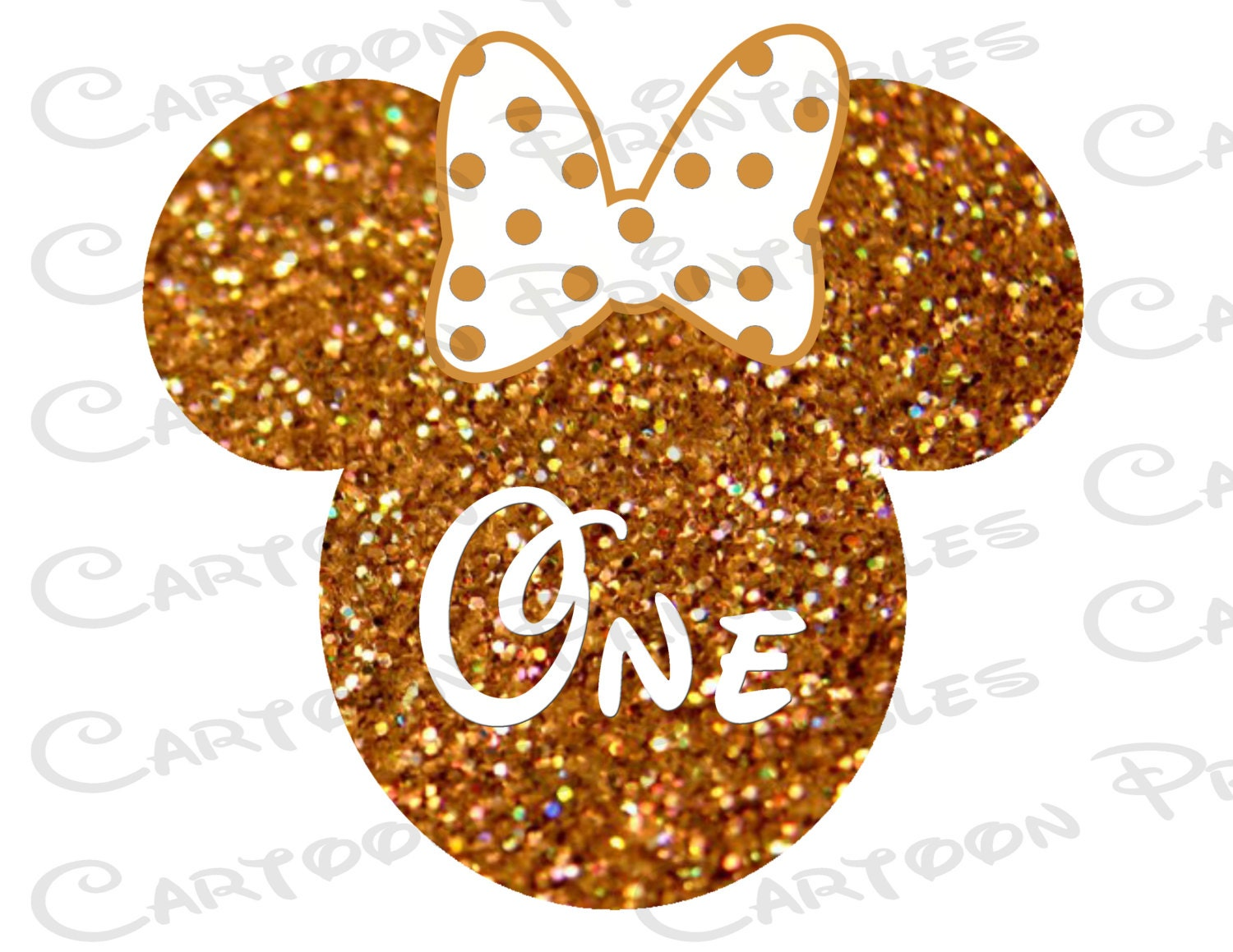 Minnie Mouse Head Gold Glitter Number One IMAGE Use as Printable ...