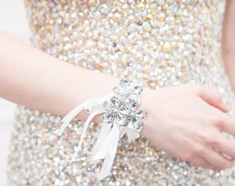 Prom Corsage Silver, Wedding Wrist Corsage - Petite Raina Corsage - Flower Corsage w/ Custom Ribbon & Band, Silver Crystal, Prom Corsages