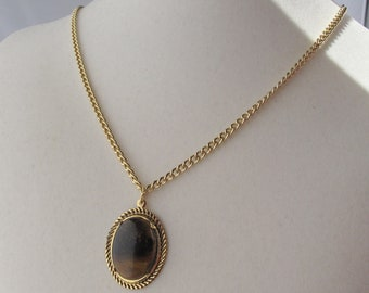 Tiger Eye Pendant on Gold Plated Chain