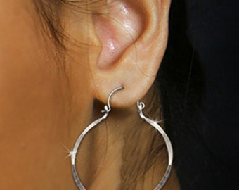 Silver Hoop Earrings Lightweight Sterling Silver Jewelry