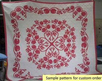 Hawaiian bedspread, Hawaiian quilts for sale, King quilts, Hawaiian bedding, Duvet, Comforter, red, pink, Homemade, Quilt king, King bedding