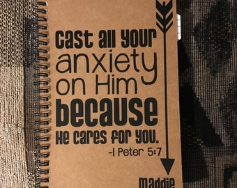 """Personalized Journal, """"Cast All Your Anxiety on Him"""" 1 Peter 5:7"""