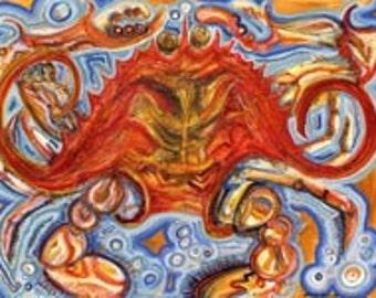 Retro Crab Art Print by Mississippi Artist Erika Johnson 11 x 14 inches  (279.4 x 355.6 mm)