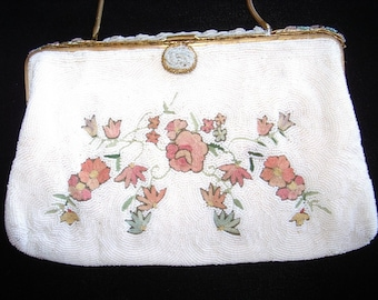 """French """"Tambour"""" Embroidered White Caviar Beaded Purse Itm #90 Purses"""
