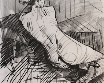 Nude drawing, nude charcoal art, handmade charcoal, charcoal drawing, framed charcoal art, black and white canvas art, unique painting, OOAK