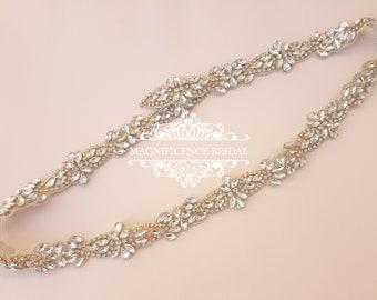 Gold bridal belt, Thin bridal belt, bridal belt, gold rhinestone belt, thin wedding belt, gold bridal sash, thin trim, wedding belt, TARA