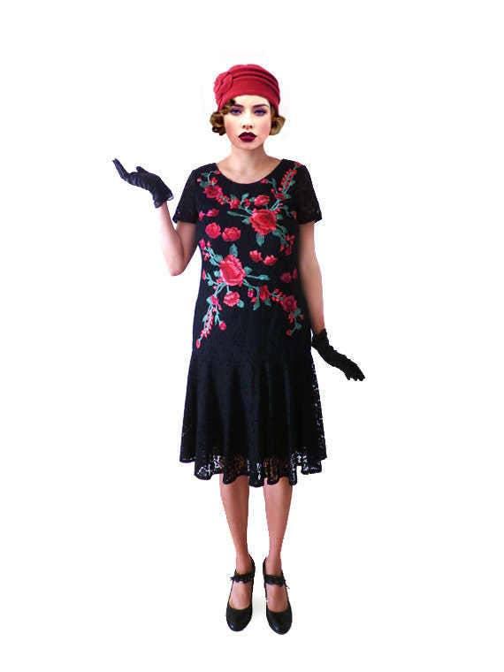 robe charleston ann e 20 noire liberty fleuris fleurs ann e 20. Black Bedroom Furniture Sets. Home Design Ideas
