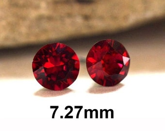 7.27mm Ruby Rhinestone Studs, Red Rhinestone Stud Earrings, Crystal Stud Earrings, July Birthstone Crystal Earrings