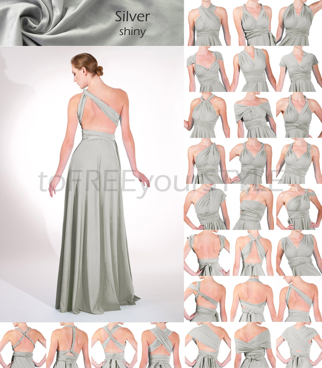 Long infinity dress in silver shiny full free style dress zoom ombrellifo Image collections