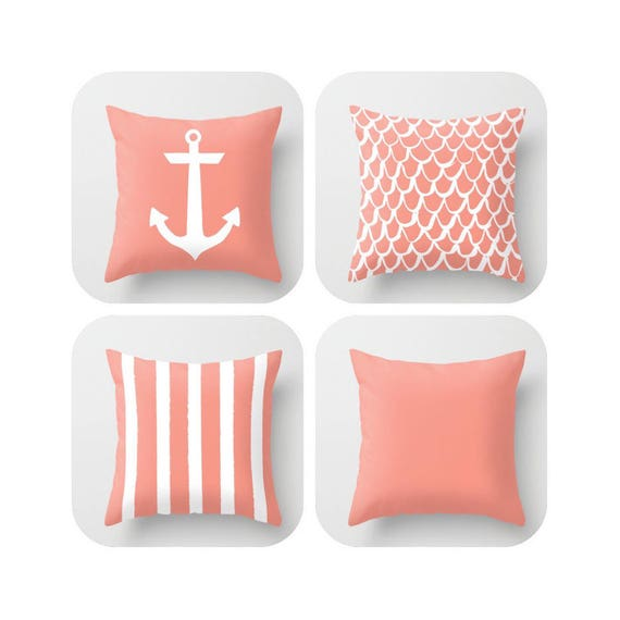 OUTDOOR Throw Pillow . Peach Mermaid Pillow . Coastal Patio Cushion . Anchor Pillow . Peach Stripe Pillow . 16 18 20 inch . Rectangle Pillow