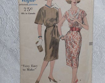 Vogue 9950 Pattern Misses' Slim Dress Kimono Sleeves Day Evening Size 12 Bust 32 Vintage 1960's Easy